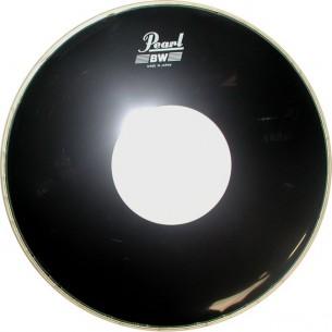 """Drumheads noire lisse avec renfort rond blanc 12"""""""