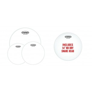 """EPP-G2HDD-R Pack Rock G2 - Peaux transparentes (10"""" 12"""" 16"""") et peau de frappe pour caisse claire14"""" HD Dry"""
