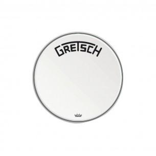 "GRDHCW18B Peau de grosse caisse Ambassador white coated 18"" logo Gretsch centré"