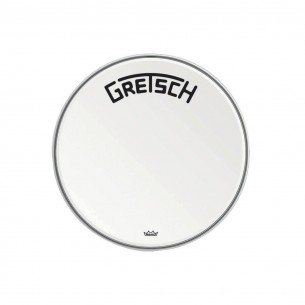 "GRDHCW20B Peau de grosse caisse Ambassador white coated 20"" logo Gretsch centré"