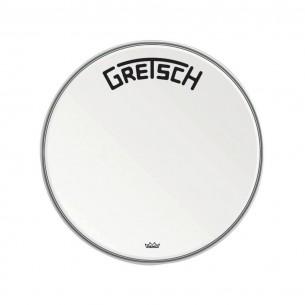 "GRDHCW22B Peau de grosse caisse Ambassador white coated 22"" logo Gretsch centré"