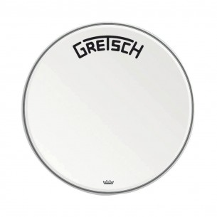 "GRDHCW24B Peau de grosse caisse Ambassador white coated 24"" logo Gretsch centré"