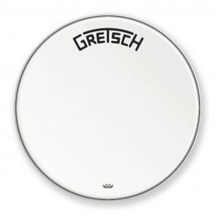 "GRDHCW26B Peau de grosse caisse Ambassador white coated 26"" logo Gretsch centré"