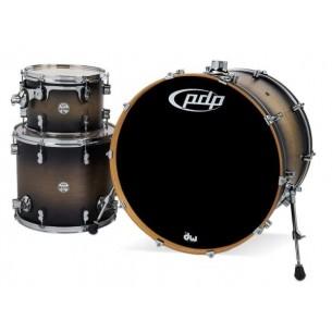 """Kit 3 fûts Concept Maple SATIN CHARCOAL BURST 24x18"""" BD, 12x9"""" TT, 16x14"""" FT - Cymbales et hardware non inclus"""