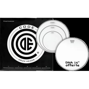"""Set de peaux TOM PACK DNA Transparente FUSION + Caisse claire 14"""" DNA Sablée"""