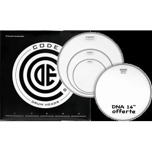 """Set de peaux TOM PACK DNA Transparente ROCK + Caisse claire 14"""" DNA Sablée"""