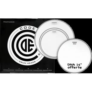 """Set de peaux TOM PACK DNA Transparente STANDARD + Caisse claire 14"""" DNA Sablée"""