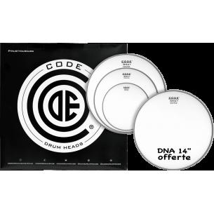 """Set de peaux TOM PACK DNA Sablée FUSION + Caisse claire 14"""" DNA Sablée"""