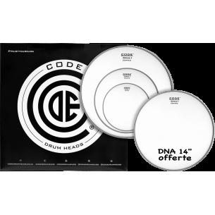 """Set de peaux TOM PACK DNA Sablée ROCK + Caisse claire 14"""" DNA Sablée"""