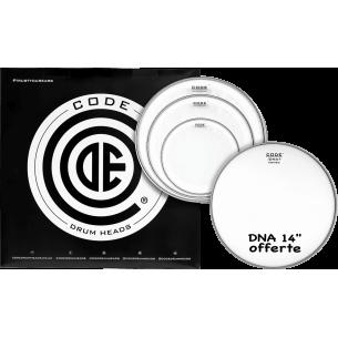 """Set de peaux TOM PACK GENERATOR Transparente FUSION + Caisse claire 14"""" DNA Sablée"""
