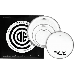 """Set de peaux TOM PACK GENERATOR Transparente ROCK + Caisse claire 14"""" DNA Sablée"""