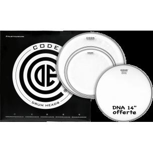 """Set de peaux TOM PACK GENERATOR Transparente STANDARD + Caisse claire 14"""" DNA Sablée"""