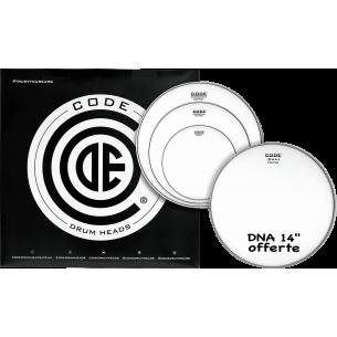"""Set de peaux TOM PACK GENERATOR Sablée FUSION + Caisse claire 14"""" DNA Sablée"""