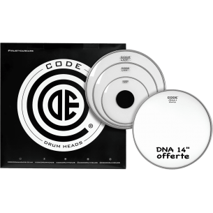 "Set de peaux TOM PACK LAW Transparente FUSION + Caisse claire 14"" DNA Sablée"
