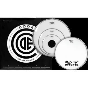 """Set de peaux TOM PACK LAW Transparente ROCK + Caisse claire 14"""" DNA Sablée"""