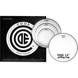 """Set de peaux TOM PACK RESO RING Transparente FUSION + Caisse claire 14"""" DNA Sablée"""