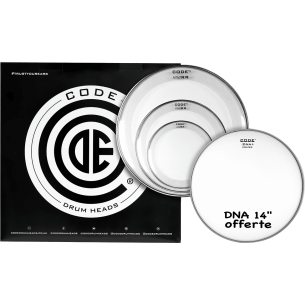 "Set de peaux TOM PACK RESO RING Transparente ROCK + Caisse claire 14"" DNA Sablée"