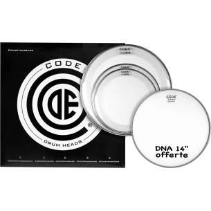 "Set de peaux TOM PACK RESO RING Transparente STANDARD + Caisse claire 14"" DNA Sablée"