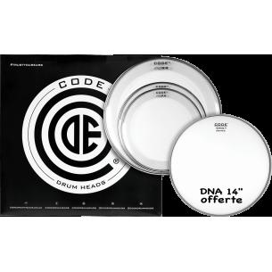 """Set de peaux TOM PACK RESO RING Transparente STANDARD + Caisse claire 14"""" DNA Sablée"""