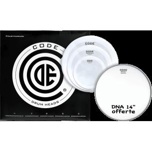 """Set de peaux TOM PACK SIGNAL Lisse FUSION + Caisse claire 14"""" DNA Sablée"""