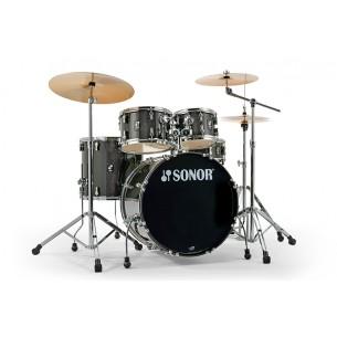 """Kit AQX Stage 22"""" 5 fûts BLACK MIDNIGHT SPARKLE avec pack accessoires et cymbales"""