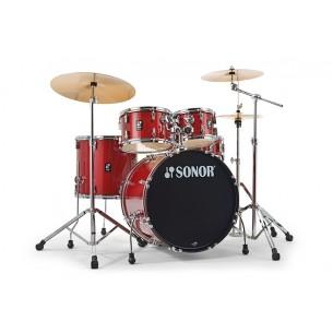 "Kit AQX Stage 22"" 5 fûts RED MOON SPARKLE avec pack accessoires et cymbales"
