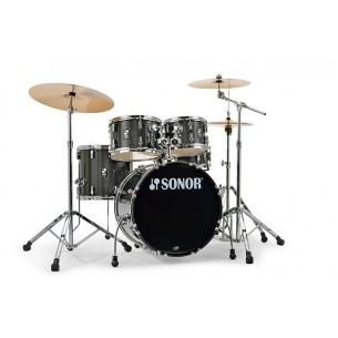 """Kit AQX Studio 20"""" 5 fûts BLACK MIDNIGHT SPARKLE avec pack accessoires et cymbales"""