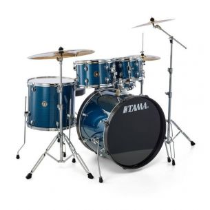 """RM52KH6-HLB - Kit Rhythm Mate 5 Fûts Fusion 22"""" HAIRLINE BLUE avec accessoires et cymbales"""