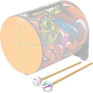 16-1255-00 - Mailloche en bois de 18,4 x 0,6 cm avec tête en caoutchouc de 27 mm de diamètre, multicolore