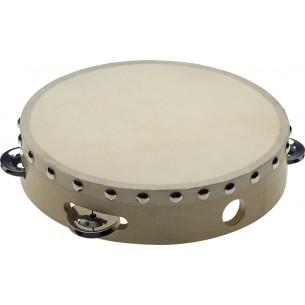 """STA-1108 - Tambourin 8"""" pré-accordé en bois, peau fixe rivetée, 1 rangée de cymbalettes"""