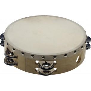 """STA-1208 - Tambourin 8"""" pré-accordé en bois, peau fixe rivetée, 2 rangées de cymbalettes"""
