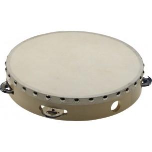 """STA-1110 - Tambourin 10"""" pré-accordé en bois, peau fixe rivetée, 1 rangée de cymbalettes"""