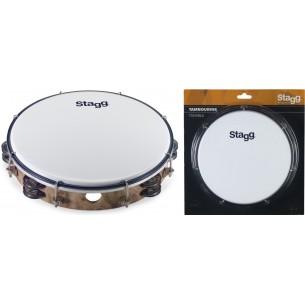 """TAB-210P/WD - Tambourin accordable en plastique 10"""" avec 2 rangées de cymbalettes"""