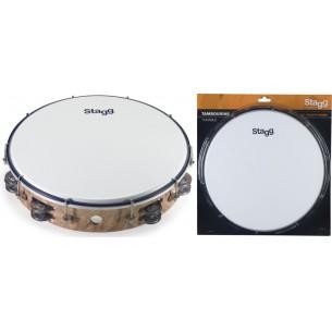 """TAB-212P/WD - Tambourin accordable en plastique 12"""" avec 2 rangées de cymbalettes"""