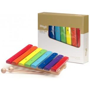 XYLO-J8 RB - Xylophone avec 8 lames de différentes couleurs et deux mailloches en bois