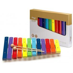 XYLO-J12 RB - Xylophone avec 12 lames de différentes couleurs et deux mailloches en bois