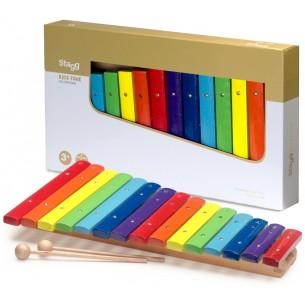 XYLO-J15 RB - Xylophone avec 15 lames de différentes couleurs et deux mailloches en bois