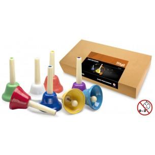 HB SET - Jeu de huit cloches de différentes couleurs, couvrant une octave