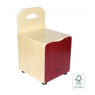 CAJ-KID-RD - Cajón pour enfant avec dossier EasyGo, en tilleul, plaque rouge